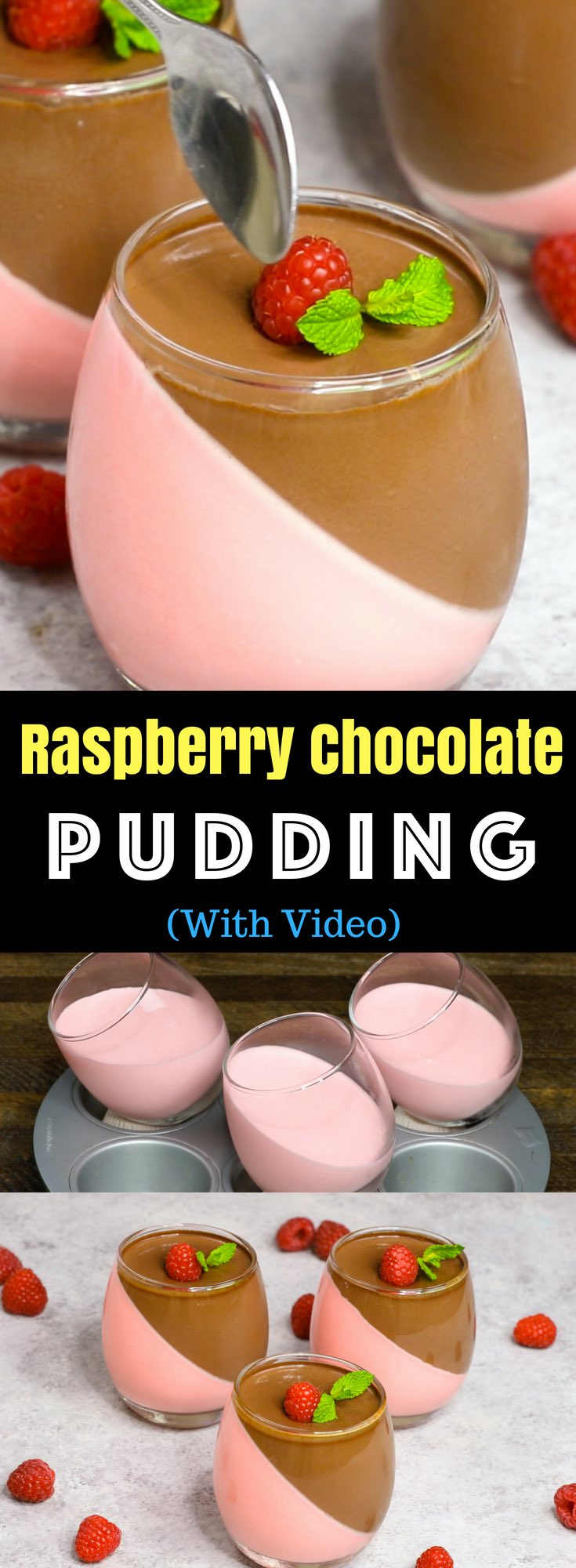 This Homemade Chocolate Pudding is a stunning make-ahead mouthwatering dessert that's creamy and smooth. It's an easy recipe with a few simple ingredients: raspberry jello powder, cool whip, half and half milk, gelatin, unsweet chocolate and sugar. Wow your guest with this refreshing dessert at your next party! No bake, and easy dessert. Video recipe. | izzycooking.com #ChocolatePudding
