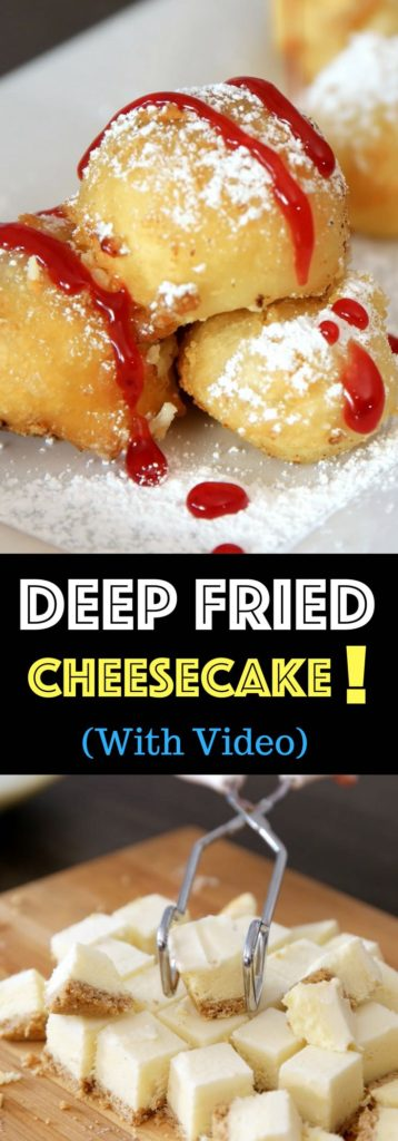 Crispy & Creamy Fried Cheesecake – Crispy outside and creamy inside! you can't resist this delicious dessert made with your favorite frozen or leftover cheesecake. It only requires a few simple ingredients: flour, baking powder, salt, sugar, milk and oil. So good! Quick and easy recipe. No bake dessert. Vegetarian. Video recipe. | izzycooking.com #friedCheesecake