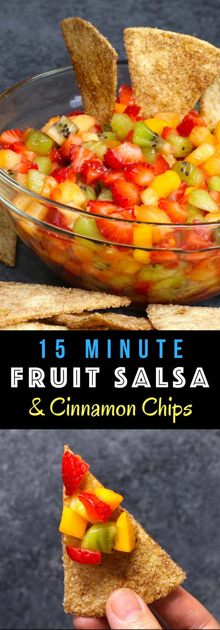 Quick and easy Fruit Salsa with Cinnamon Chips – delicious fruit salsa with crispy and sweet cinnamon chips. It comes together in no time. It's a great way to start the day, enjoy the day, or finish the day with this fresh Fruit Salsa! #fruitSalsa