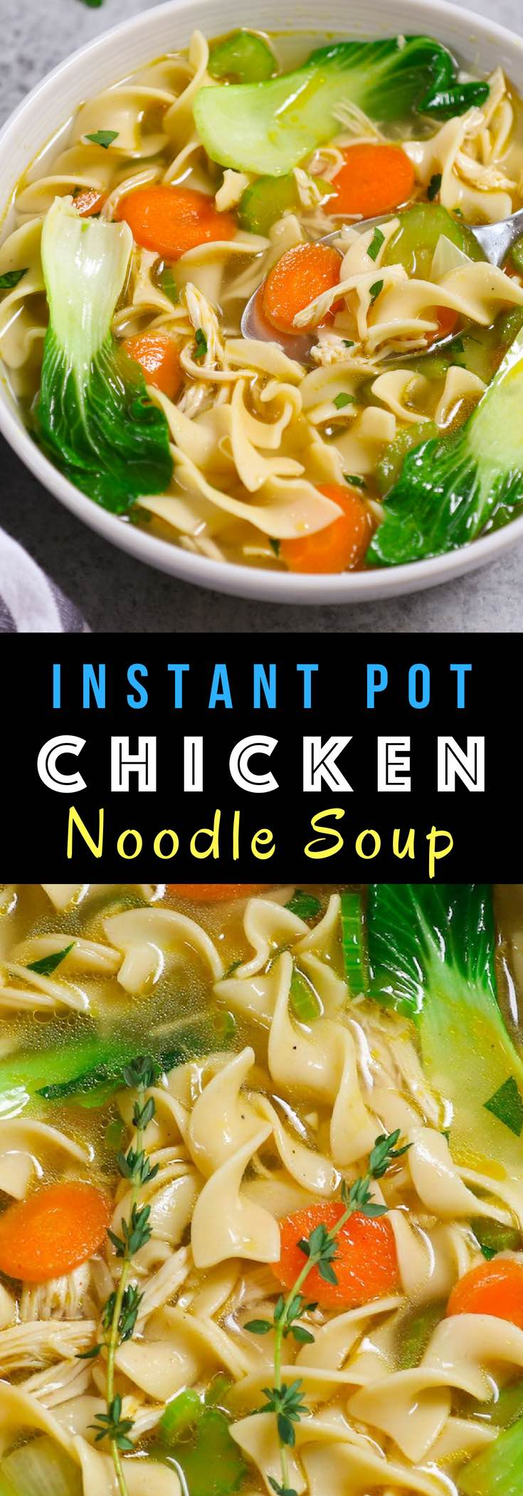 Delicious and comforting Instant Pot Chicken Noodle Soup - loaded with tender chicken, delicious noodles and nutritious vegetables. Best of all, it takes only 30 minutes when made from scratch! #InstantPot #ChickenNoodleSoup