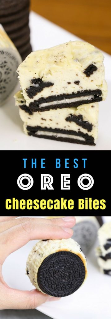 The most incredible Oreo Cheesecake Bites – creamy and soft cheesecake with a delicious oreo crust at the bottom. They are so easy to make and a guaranteed hit at any parties! #OreoCheesecake #MiniOreoCheesecake