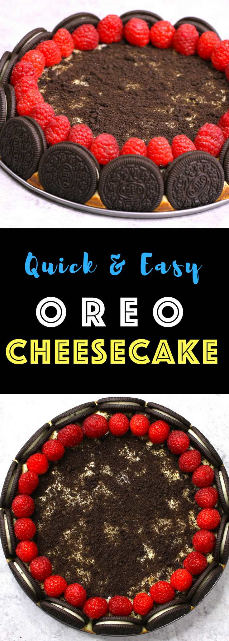 This Oreo Cheesecake is out of this world delicious, and it looks absolutely gorgeous too! I love Oreos and cheesecake, and this time I add raspberries. It totally melt-in-your-mouth and highly addictive! #OreoCheesecake