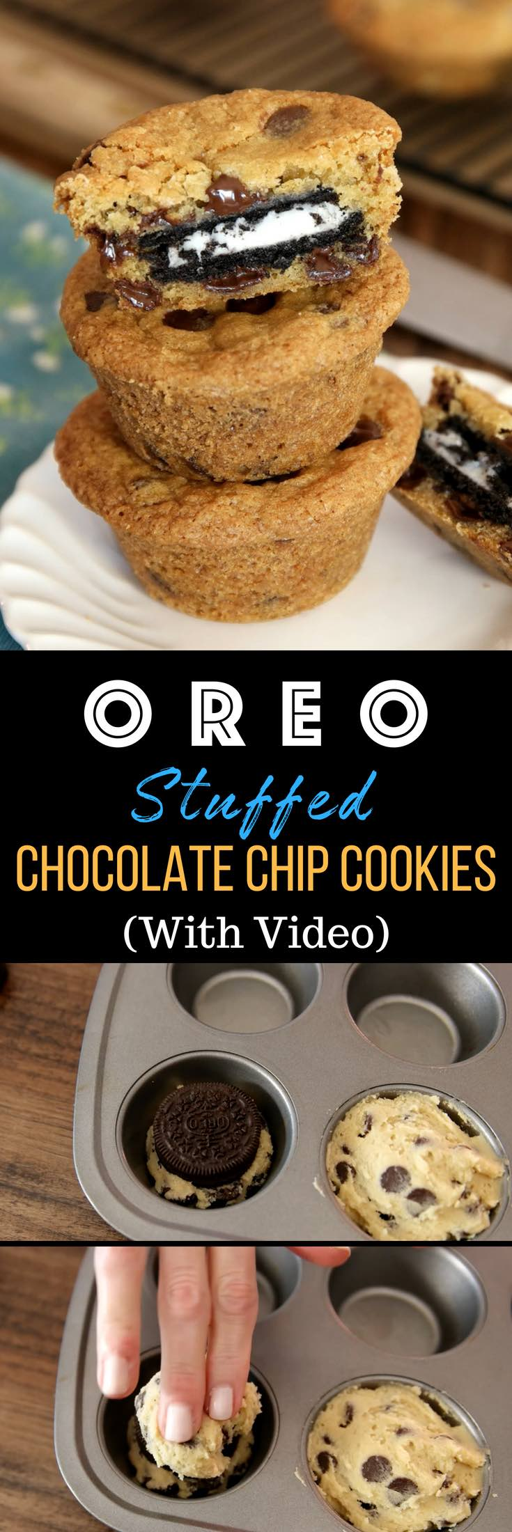 Oreo Chocolate Chip Cookies – The BEST soft and chewy chocolate chip cookies stuffed with moist Oreos! They take less than 30 minutes to make and all you need is your favorite chocolate chip cookie dough and Oreos! So simple and so delicious! It's great for snack, parties, or dessert! Video recipe. | izzycooking.com #OreoStuffedChocolateChipCookies #OreoChocolateChipCookies