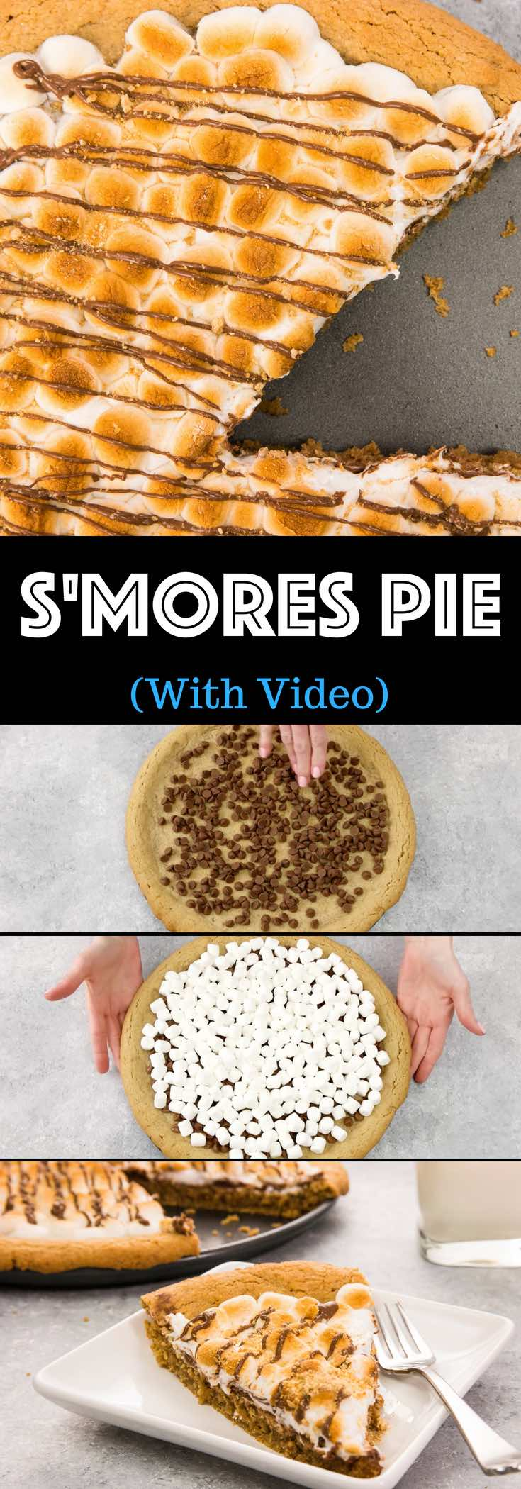 S'mores Pie / S'more Pizza is gooey, chocolatey, rich and crunchy making a perfect crow-pleaser. It's such an easy recipe that takes less than 30 minutes. Who needs a campfire? The combination of graham cracker crust, toasted marshmallow and rich chocolate come together, in the form of a delicious pie. So good! Quick and easy recipe. | izzycooking.com #smoresPie #smoresPizza