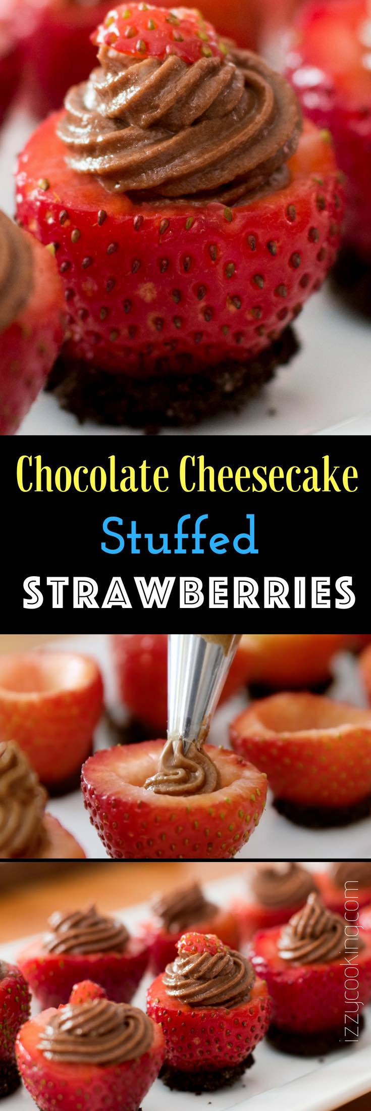 Chocolate Cheesecake Filled Strawberries- mouthwatering and creamy chocolate cheesecake stuffed in fresh strawberries. A no-bake dessert takes only 15 minutes to make! It's the perfect make-ahead dessert for a party or holiday with friends and family.