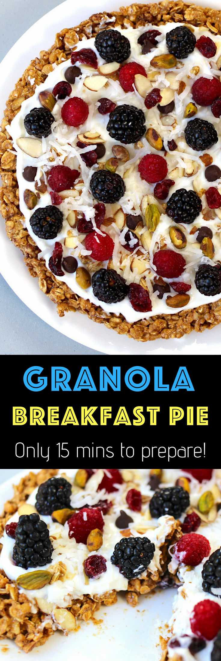 Healthy Breakfast Pie that's easy to make with a few simple ingredients: granola, peanut butter, almonds, cinnamon, yogurt, berries and nuts. A great vegetarian breakfast or brunch idea.