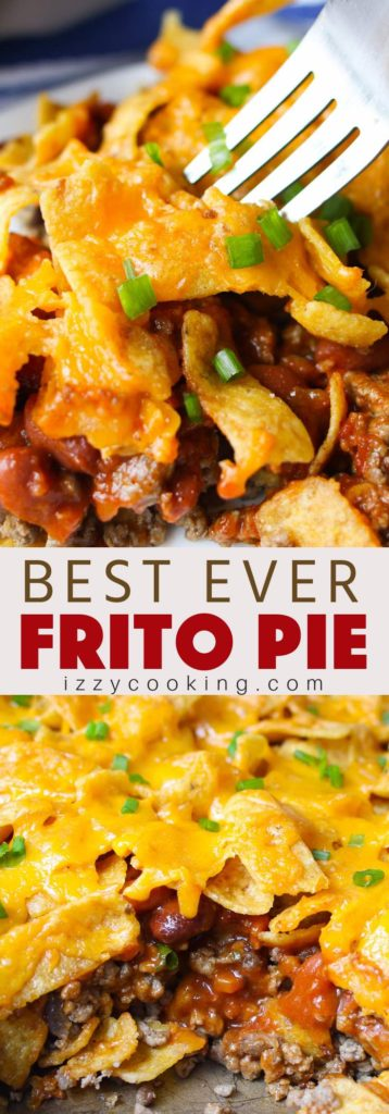 Frito Chili Pie – The best Frito pie loaded with Frito corn chips, ground beef, chili beans and tomato sauce.