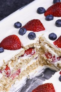 Strawberry Icebox Cake is a no-bake refrigerator cake made with fresh strawberries and layers of graham cracker wafers softened by whipped cream!