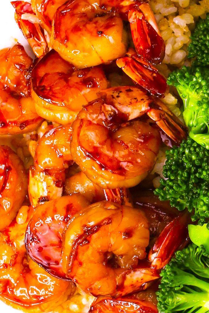 Sriracha shrimp served on rice with broccoli