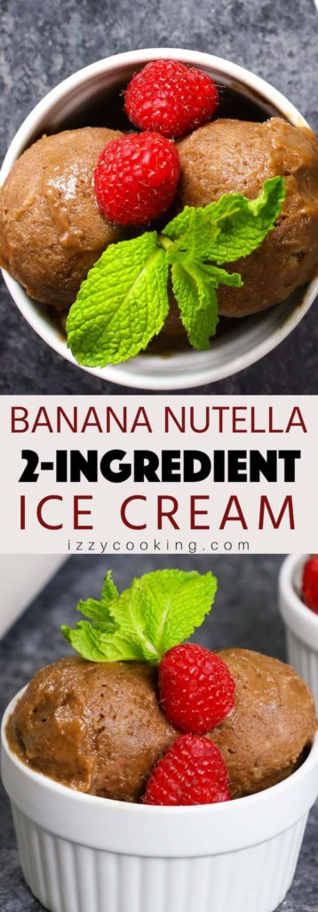 Learn how to make this easiest 2-ingredient ice cream with or without a blender! This homemade banana Nutella ice cream is creamy, smooth and delicious!