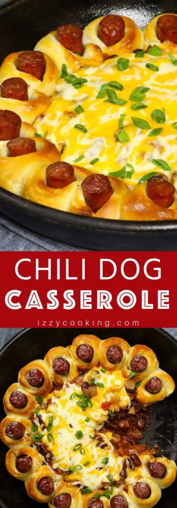 This Chili Dog Casserole is hot dog wrapped with biscuit dough, then baked in a homemade chili sauce with shredded cheese.
