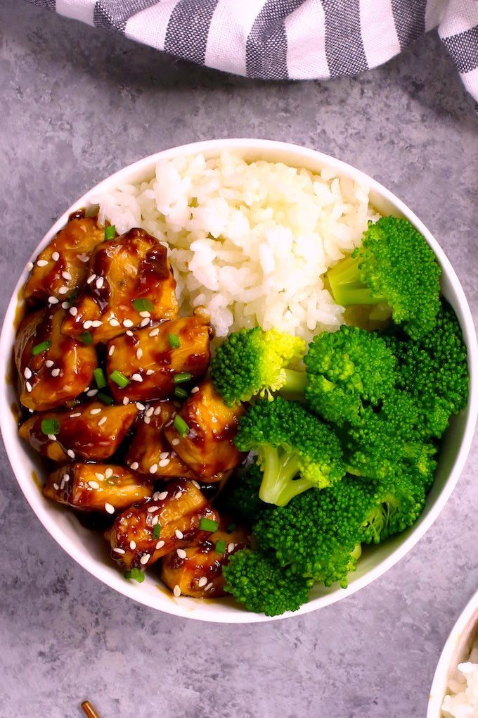 Teriyaki Chicken Bowl recipe is an easy 15 minute Japanese rice bowl recipe with delicious chicken teriyaki sauce. No marinading needed!