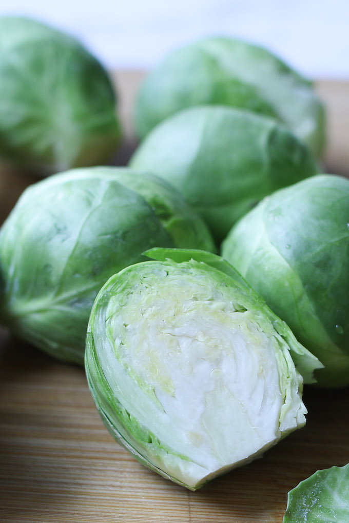 Fresh brussels sprouts cut into halves