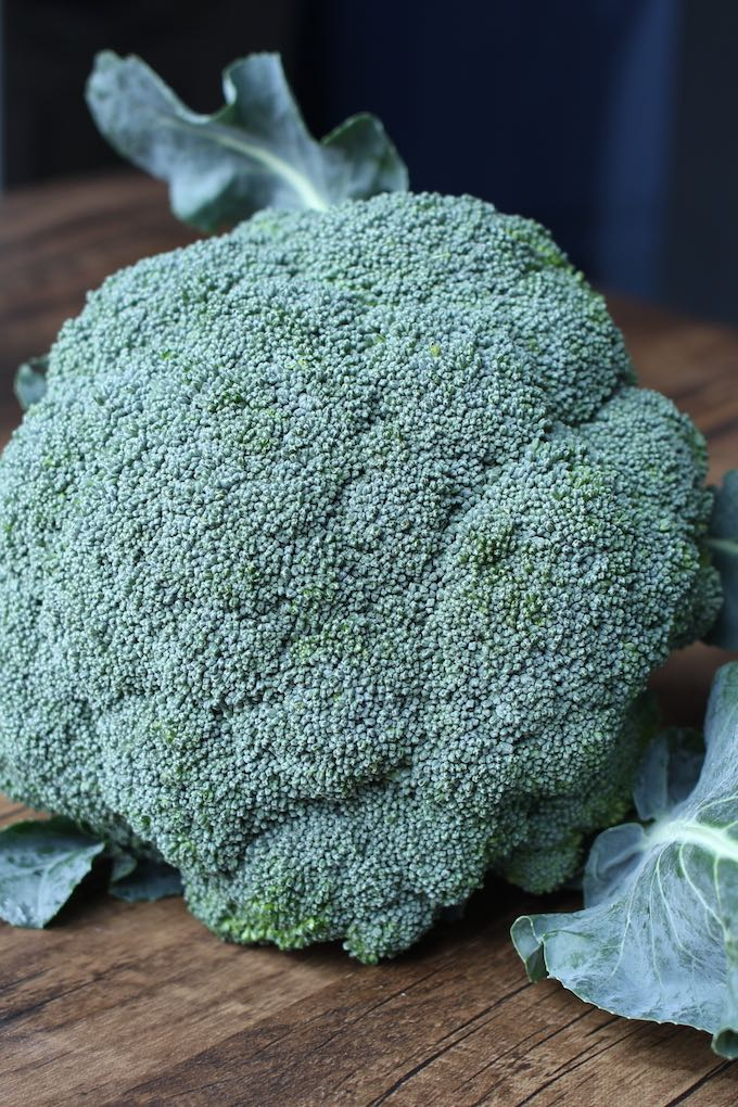 fresh broccoli on a wooden counter