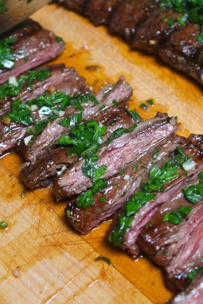 This Sous Vide Skirt Steakis super tender, flavorful and evenly cooked edge to edge. The sous vide cooking technique allows you to cook a better steak dinner than the best steakhouse. The skirt steak is precisely cooked to the temperature you set with your desired doneness!