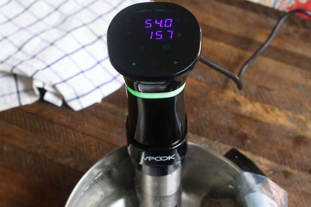 Set the Sous Vide Precision Cooker to 130°F (54°C) and set the time for 2-4 hours.