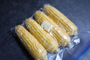 Vacuum sealed corn with butter.