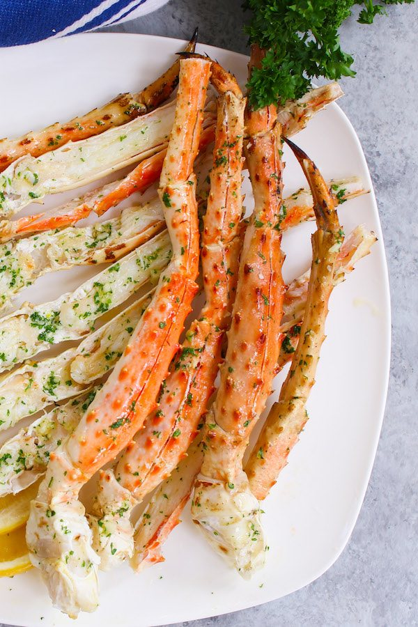Closeup of king crab legs.