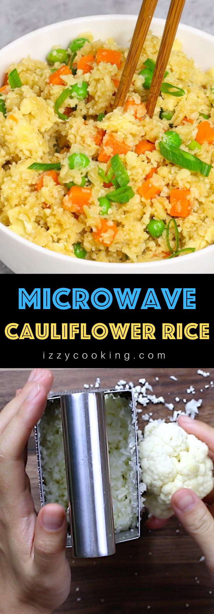 This Easy Microwave Cauliflower Rice recipe makes light and fluffy cauliflower rice in just a few minutes. An amazingly healthy and low carb twist on takeout fried rice. It's a perfect grain-free and quick side dish!