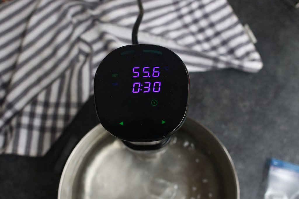 Set the Sous Vide Precision Cooker to 132°F (55.6°C).