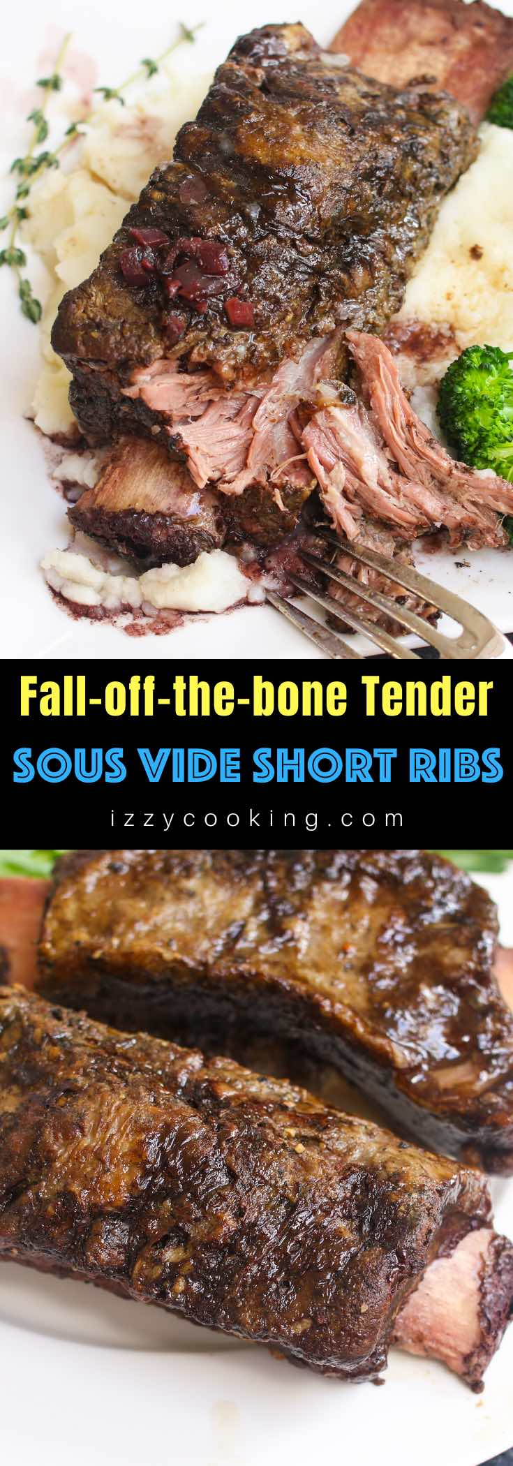 Sous Vide short ribs are fall-off-the-bone tender and unbelievably easy to make. Sous vide method is a perfect way to cook tough cuts such as beef ribs to the precise temperature you set, making the meat super tender. #SousVideShortRibs #BeefShortRibs