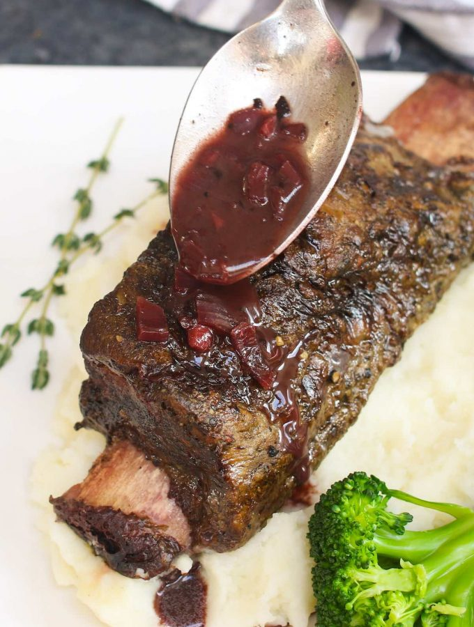 Sous Vide short ribs are fall-off-the-bone tender and unbelievably easy to make. Sous vide method is a perfect way to cook tough cuts such as beef ribs to the precise temperature you set, making the meat super tender.