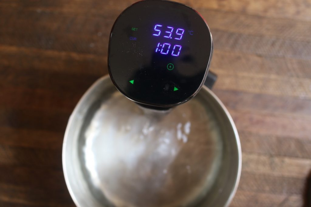 Set the Sous Vide Precision Cooker to 130°F (54°C) for medium or other desired doneness and set the time for 1 hours.