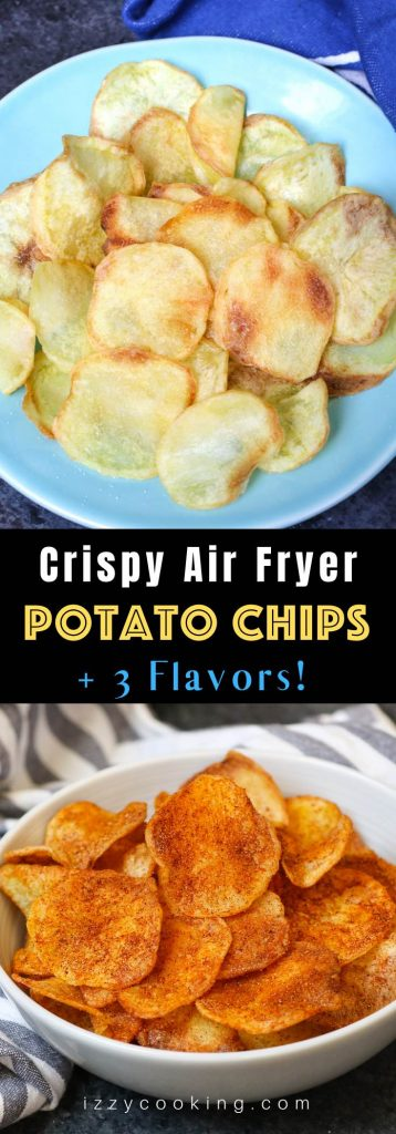 Crispy and healthy homemade Air Fryer Potato Chips made with only 3 ingredients. No oil needed! Season them up the way you like. This crunchy snack tastes so good and you'll never buy store-bought potato chips again! #AirFryerPotatoChips
