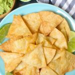 The best ever super crispy and crunchy Air Fryer Tortilla Chips without oil! You'll only need 3 ingredients and a few minutes! #AirFryerTortillaChips