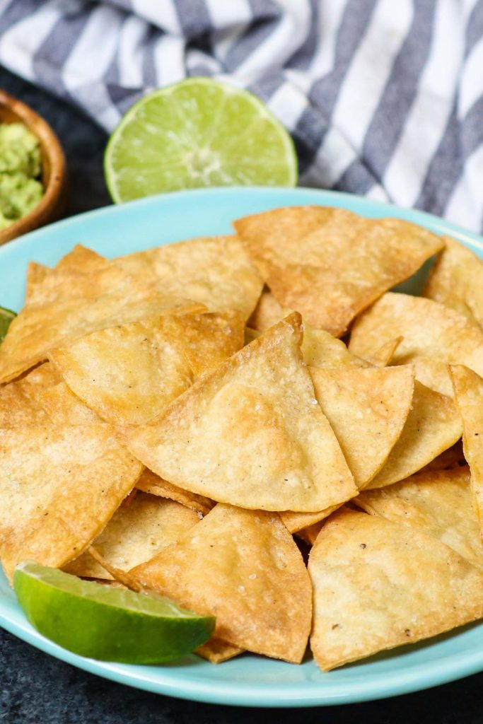 The best ever super crispy and crunchy Air Fryer Tortilla Chips without oil! You'll only need 3 ingredients and a few minutes!