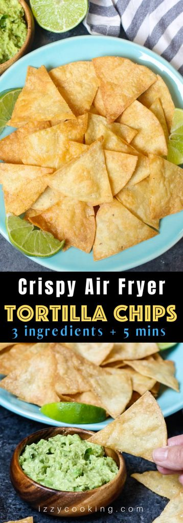 The best ever super crispy and crunchy Air Fryer Tortilla Chips without oil! You'll only need 3 ingredients and a few minutes! #AirFryerTortillaChips #EasyAirFryerRecipes
