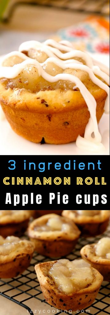 Cinnamon Roll Apple Pie Cups are like mini apple pies featuring a sweet apple pie filling packed inside fluffy and soft cinnamon roll crust. They're a mouthwatering and bite-size dessert baked in a muffin tin. You can easily make them with only 3 ingredients in 20 minutes! #CinnamonRollApplePie #CinnamonRollApplePieCups