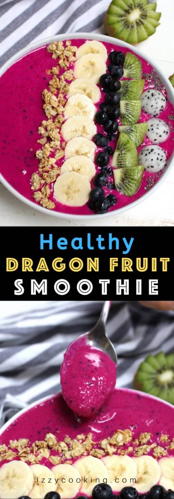 The BEST Dragon Fruit Smoothie recipe ever – creamy, healthy and packed with nutrients! It's ready in less than 5 minutes, and made with almond milk so it's naturally dairy-free and vegan. This refreshing smoothie has the vibrant pink color and is the perfect quick and easy breakfast, snack or dessert! #DragonFruitSmoothie #DragonFruitSmoothieBowl #PitayaBowl