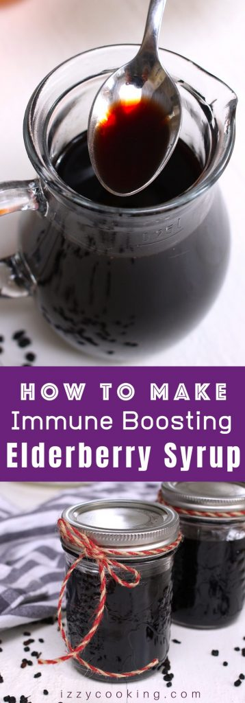 Homemade Elderberry Syrup Recipe is an easy and inexpensive solution to address winter wellness goals. A delicious and immune boosting syrup that's made with dried elderberries, cinnamon, ginger, clove, and honey. It's one of the most popular ways to fight off a cold or flu. With a few simple tips, you can now make it at home! #elderberrySyrup #ElderberrySyrupRecipe #HomemadeElderberrySyrup
