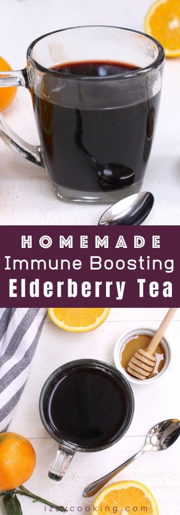Elderberry Tea is a delicious and immune boosting tea that's made with dried elderberries, cinnamon, ginger, and honey. This healthy tea can strengthen the immune system and fight off a cold. Here is a simple and easy recipe that shows how you can make this natural remedy tea at home! #ElderberryTea #ElderberryRecipe #DriedElderberries