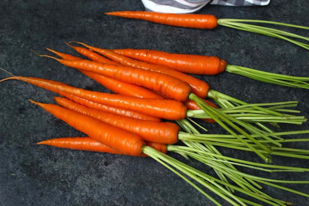 Raw fresh carrots with bright orange colour and smooth skin.