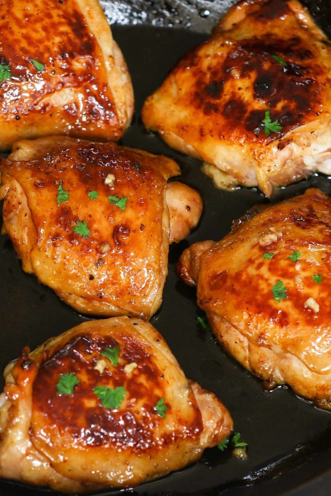 Searing chicken thighs after sous vide cooking.