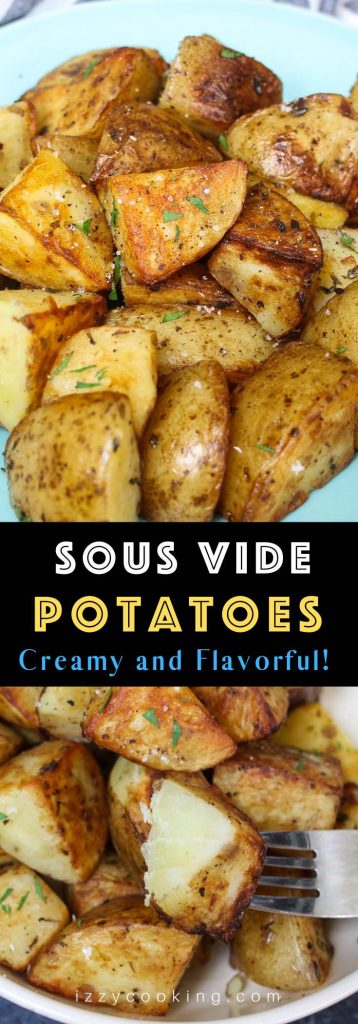 Garlic Herb Sous Vide Potatoes are so creamy, fluffy, and loaded with flavor. This simple and delicious side dish recipe takes a few minutes to prepare, then the sous vide machine will do the rest of the work and cook the potatoes to perfection! #SousVidePotatoes