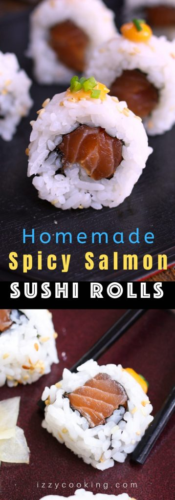Spicy Salmon Rolls made with your favorite salmon tossed in spicy sriracha mayo, then rolled in nori seaweed sheet and fluffy sushi rice! You can easily customize the roll by adding other delicious ingredients. It's so much cheaper than the restaurant, and takes about 15 minutes to make from start to finish. I'll share with you the secrets to make the best spicy salmon sushi, with step by step photos! #SpicySalmonRoll #SpicySalmonSushi