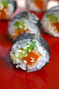 Sweet Potato Sushi Rolls are filled with baked sweet potatoes and creamy avocado, then rolled in nori seaweed sheet! It's a kid-friendly vegan recipe that's easy to make at home. I'll share with you my secret to making the best sweet potato sushi rolls, with step by step photos! #SweetPotatoSushiRoll #SweetPotatoRoll #VegetableRoll