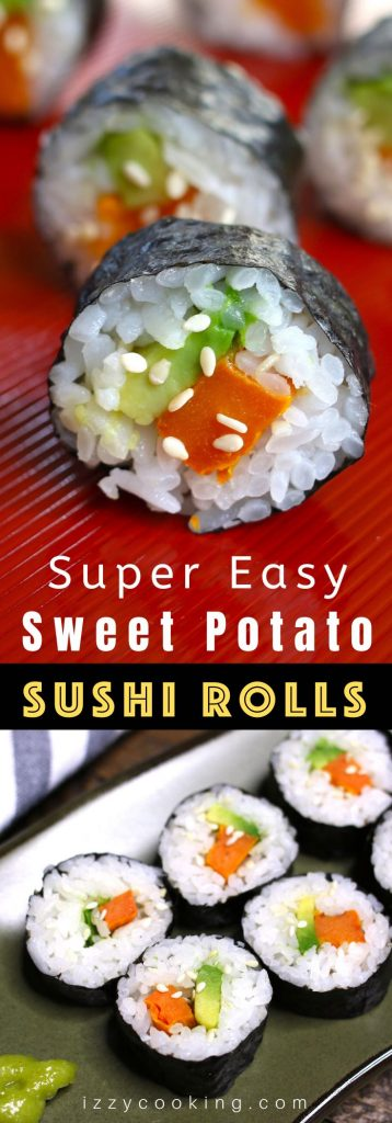 Sweet Potato Sushi Rolls are filled with roasted sweet potatoes and creamy avocado, then rolled in a nori seaweed sheet! It's a kid-friendly vegan recipe that's easy to make at home. I'll share with you my secret to making the best sweet potato sushi rolls, with step by step photos! #SweetPotatoSushiRoll #SweetPotatoSushi #VegetableSushiRoll