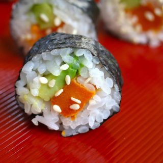 Sweet Potato Sushi Rolls are filled with roasted sweet potatoes and creamy avocado, then rolled in nori seaweed sheet! It's a kid-friendly vegan recipe that's easy to make at home. I'll share with you my secret to making the best sweet potato sushi rolls, with step by step photos!
