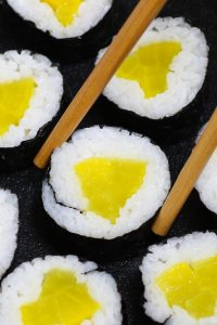 Oshinko is Japanese pickled vegetables packed with delicious flavors. My favorite is yellow radish (daikon) Oshinko – sweet, savory and refreshingly crunchy! They're often rolled in sushi rice and seaweed sheet to make vegetarian Oshinko roll, or used as a side dish to accompany main dishes. #Oshinko #OshinkoRoll #OshinkoMaki #OshinkoSushiRoll