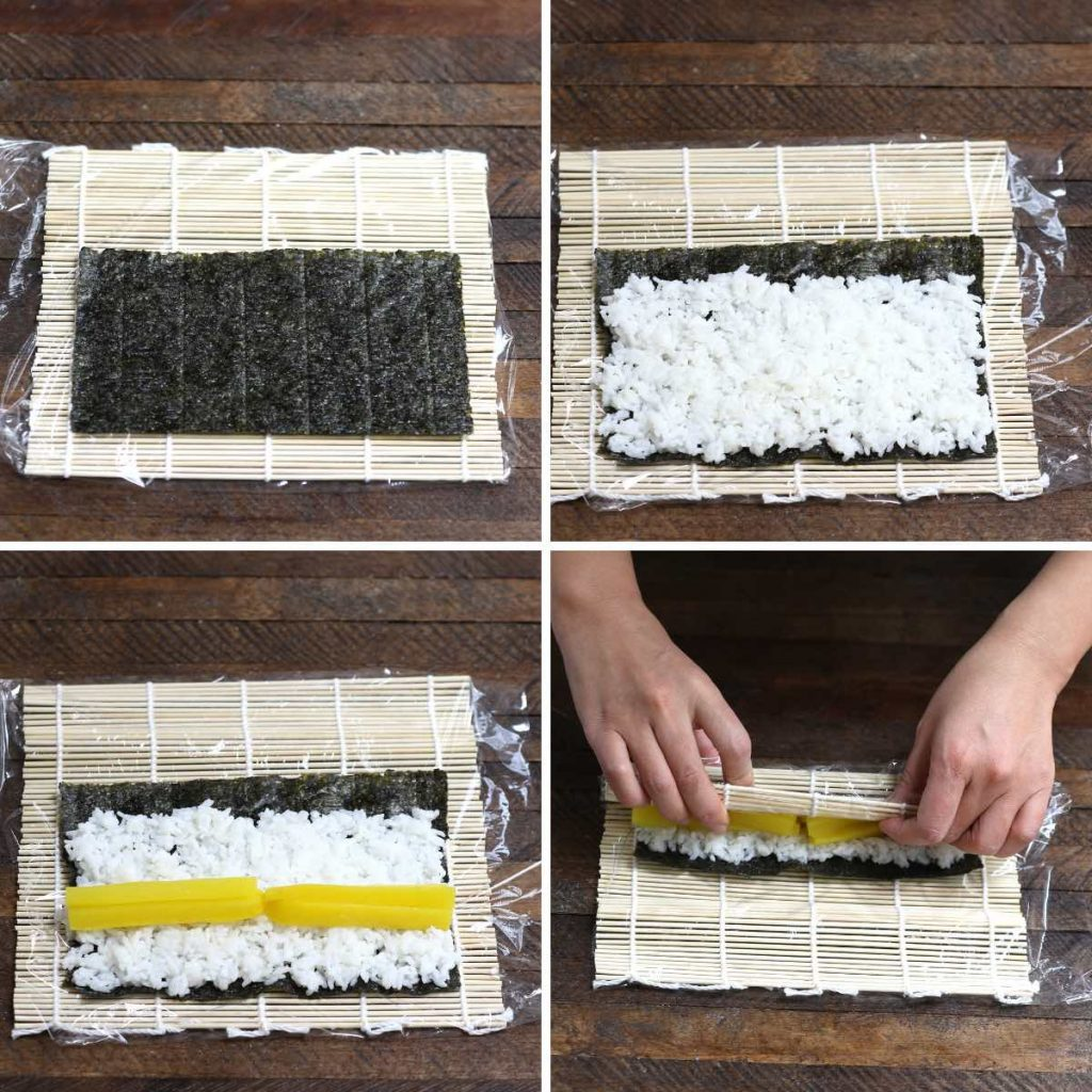 Photo collage showing how to roll up a sushi with 4 images.