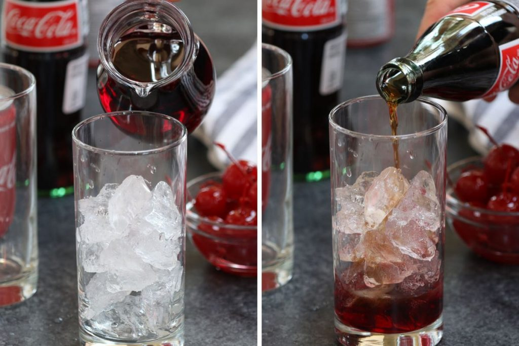 Photo collage showing adding grenadine to the glass (left) and topping with coke (right).