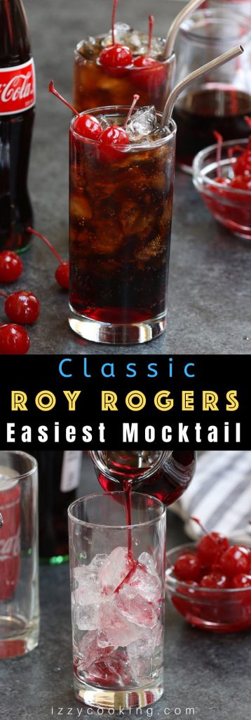Roy Rogers Drink is refreshing, fizzy and irresistible – one of my go-to mocktails since childhood. The base of this non-alcoholic drink is cola and grenadine syrup, and topped with maraschino cherry. This drink is known for its simplicity and great taste, making the perfect holiday beverage for kids as well as grown-ups! #RoyRogersDrink #RoyRogersRecip e#EasyMocktail
