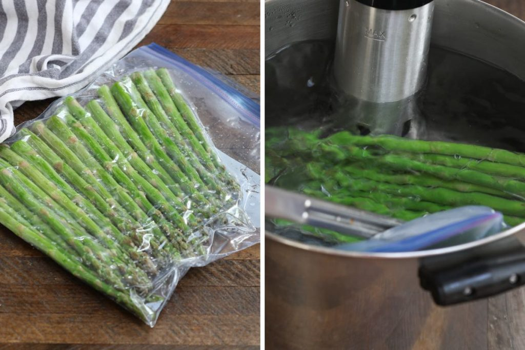 Vacuum seal the asparagus in a zip-lock bag and sous vide cook in a water bath.