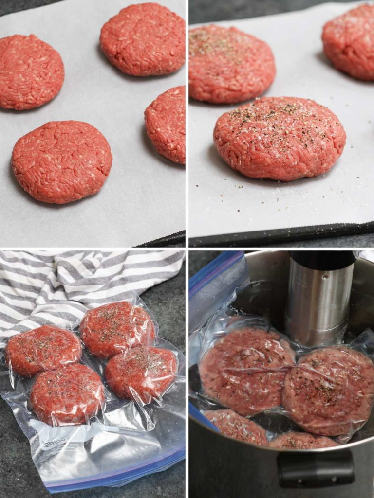 Photo collage showing how to sous vide burgers with step-by-step photos.
