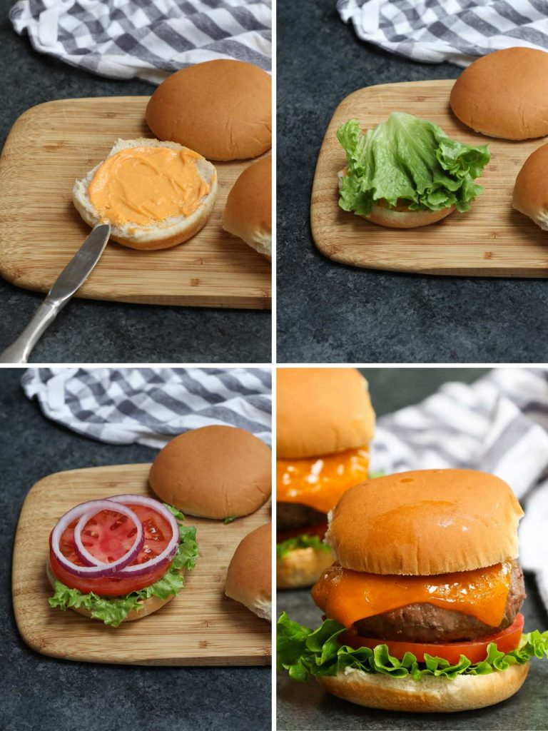 Photo collage showing how to build a hamburger with step-by-step images.