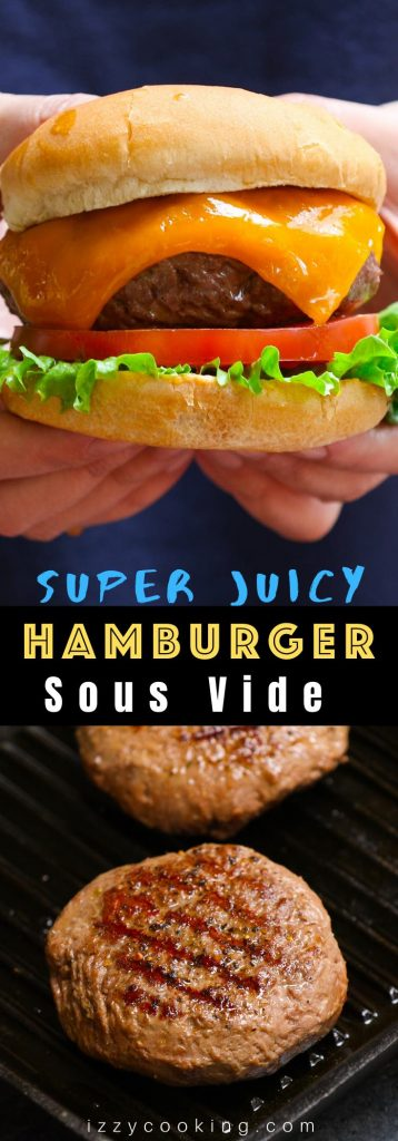 The best and easiest Sous Vide Hamburger recipe – perfectly tender and juicy EVERY TIME! The sous vide method helps to cook burgers to the perfect doneness by controlling the temperature precisely. It's a guaranteed success and say good-bye to tough, dry, and crumbly burgers! #SousVideHamburger #SousVideBurger